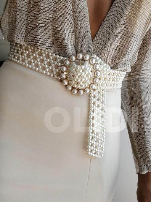 Cinturón perlas redondo